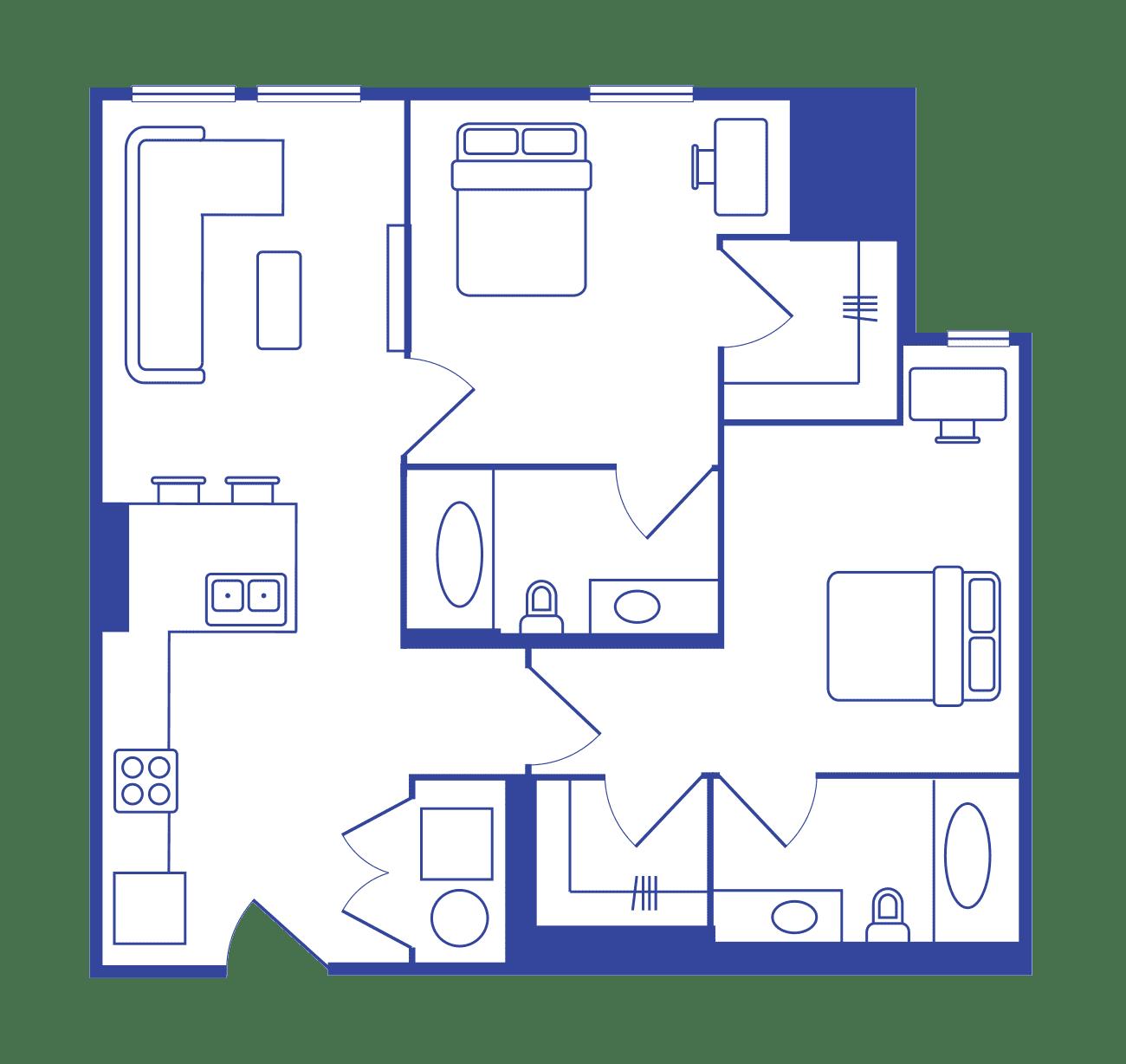 2 Bedroom - 2 Bath Student Apartments