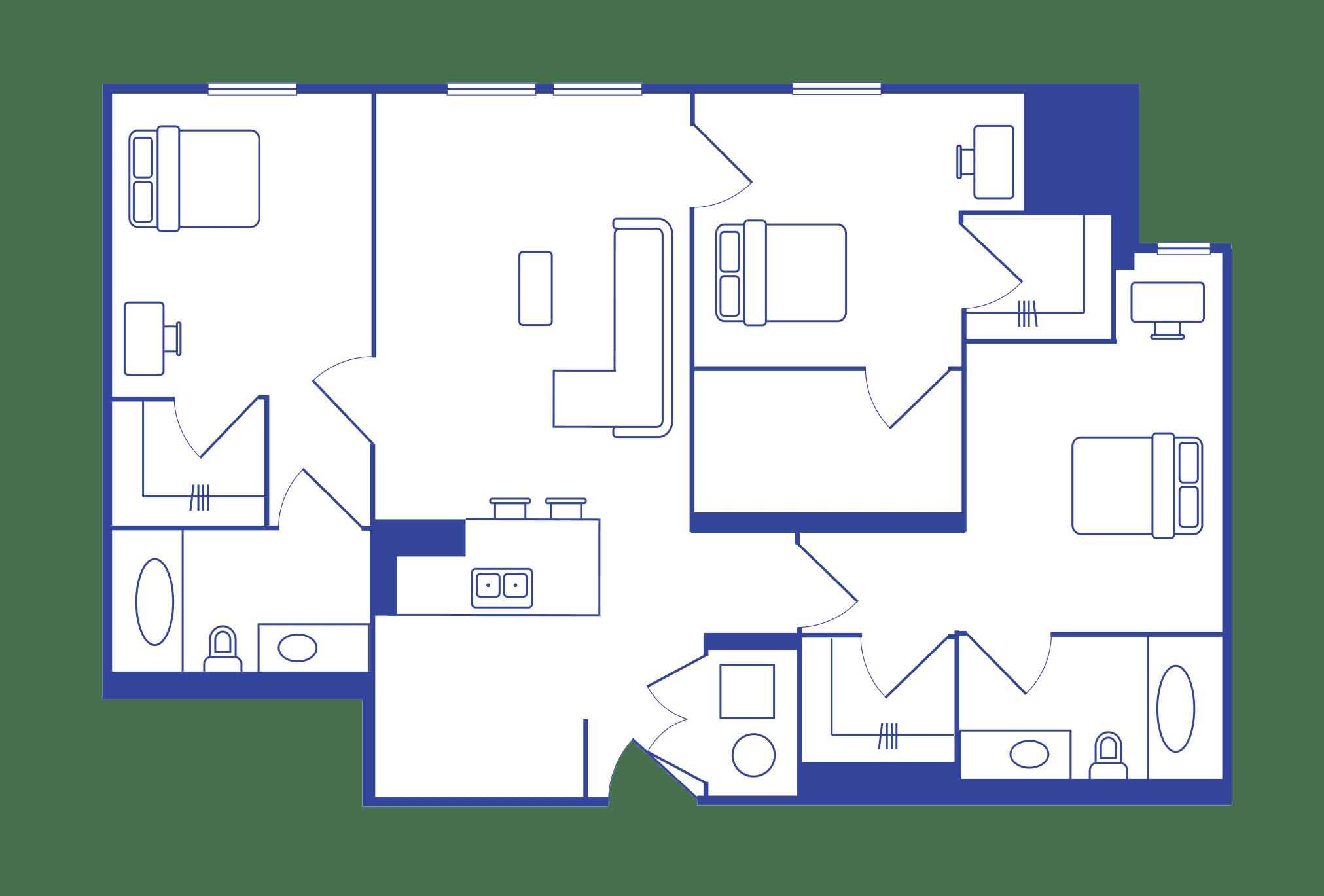 3 Bedroom - 3 Bath Student Apartments