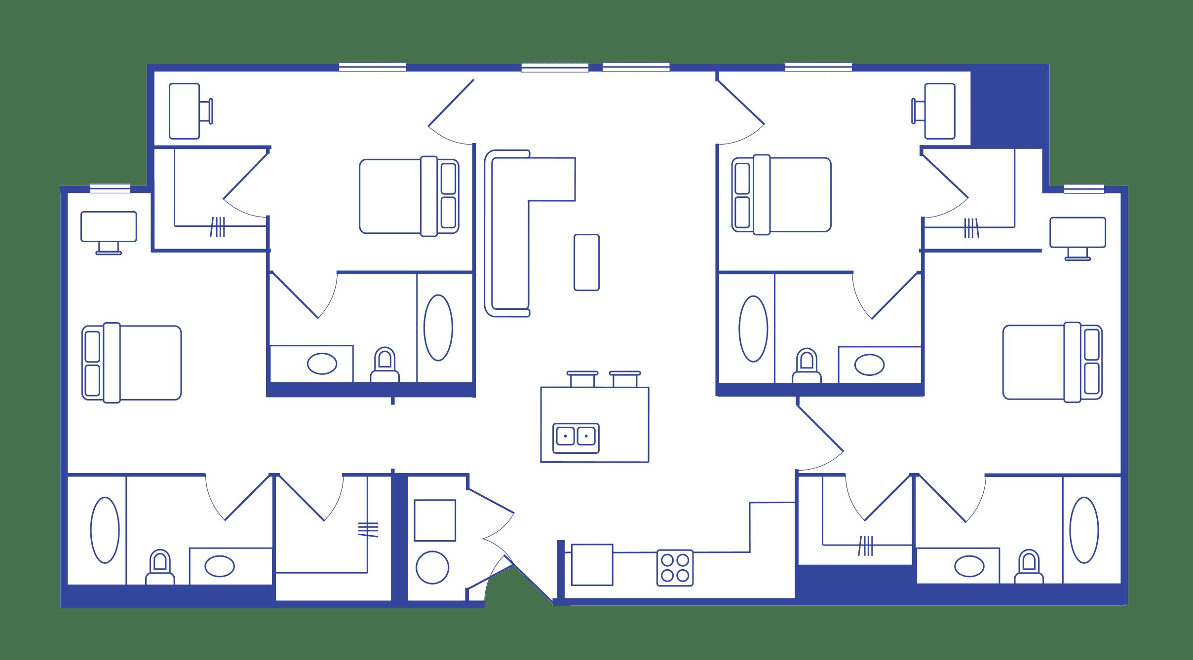 4 Bedroom - 4 Bath Student Apartments
